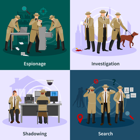 shadowing: Spy flat concept with detectives dressed in brown coat and involving in different professional situations vector illustration