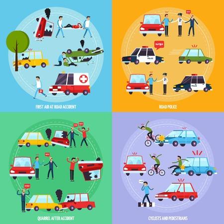 交通: 自転車と歩行者のシンボル フラット分離ベクトル図道路事故概念アイコンを設定します。