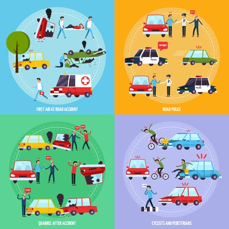 accident: Road accident concept icons set with cyclists and pedestrians symbols flat isolated vector illustration