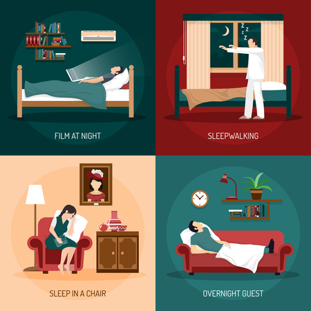 woman lying in bed: Sleeping poses design concept with sleepwalking sleep in chair overnight guest and film at night  2x2 compositions flat vector illustration