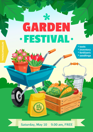 seedlings: Garden festival colorful poster with rural landscape and advertising of tools inventory seedlings fertilizer  flat vector illustration