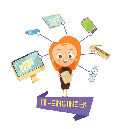 Cartoon female figurine of it engineer and data exchange tools icons set as visual information for kids vector illustration