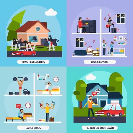 conflictos sociales: Los conflictos con los iconos de los vecinos del concepto fijaron con amantes de la música y los colectores de basura símbolos ilustración del vector aislado plana