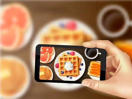 Sweet healthy breakfast with waffles berries orange and coffee top view smartphone photo sharing realistic vector illustration