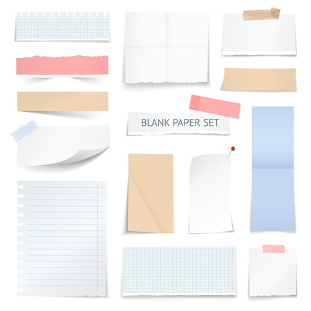 notebook page: Blank school notebook page strips graph paper notes with shadow curled edge effect realistic samples collection vector illustration Illustration