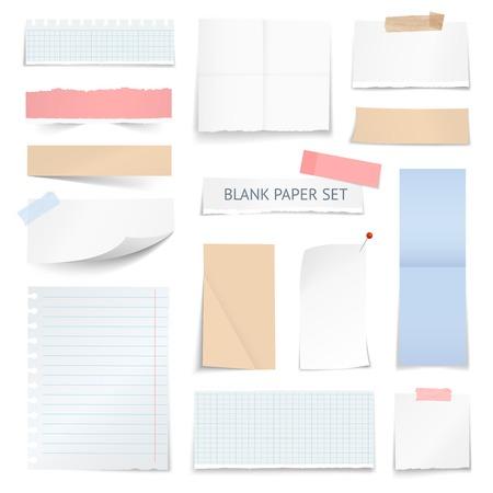 cuaderno escolar notas en blanco de papel tiras página gráfica con sombra efecto de borde rizado muestras de ilustración realista vector de recogida