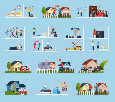 I conflitti con i vicini icone della serie di simboli di rumore piatto isolato illustrazione di vettore