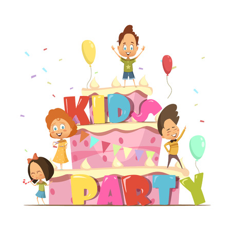 Kids party flat design template for children with giant cake and group of cartoon personages retro vector illustration