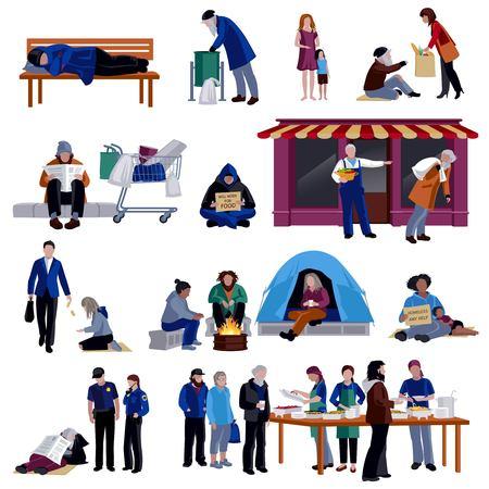 Obdachlose isoliert dekorative Icons Set von tramp schlafen auf Bank hungrigen Bettler sitzen auf auf Gehweg Flüchtlinge im Lager flachen Vektor-Illustration Vektorgrafik
