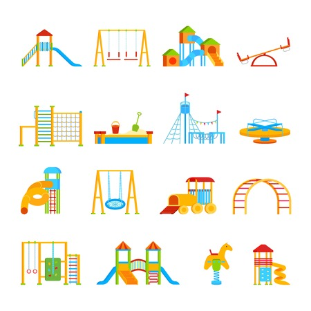 Sixteen isolated childrens playground equipment elements set with flat cartoon icons of carrousels seesaws and slippery dips vector illustration