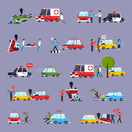 witnesses: Road accident icons set with car crash symbols flat isolated vector illustration