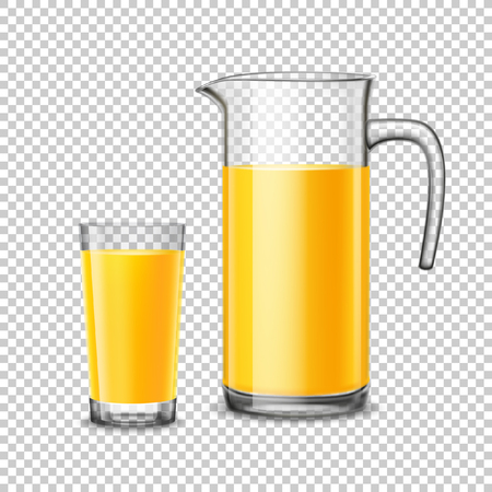 vaso de jugo: Glass and pitcher with orange juice design concept in realistic style on transparent  background vector illustration