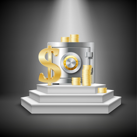 stage door: Realistic money financial template with closed safe gold coins dollar sign on illuminated stage isolated vector illustration