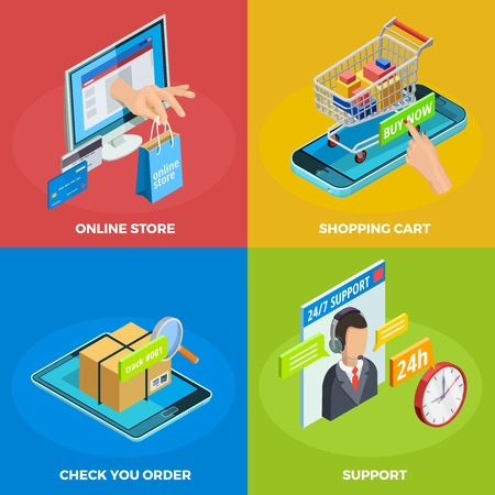 Online store 4 isometric icons square poster with shopping cart and customers support service isolated vector illustration