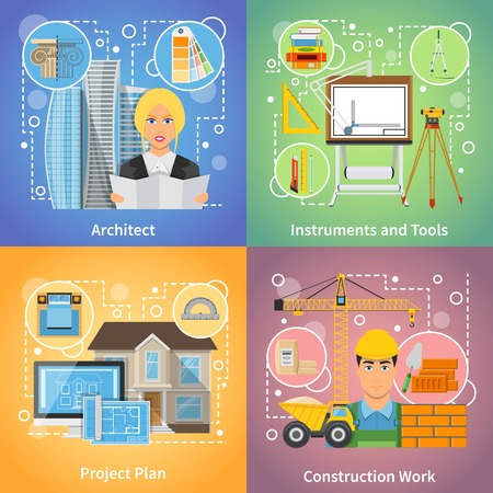 project plan: Architect 2x2 design concept set of project plan drafting tools and construction work icons compositions flat vector illustration Illustration