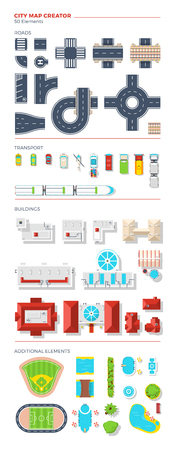 creator: City map creator of top view elements grouped by roads transport buildings and additional objects vector illustration
