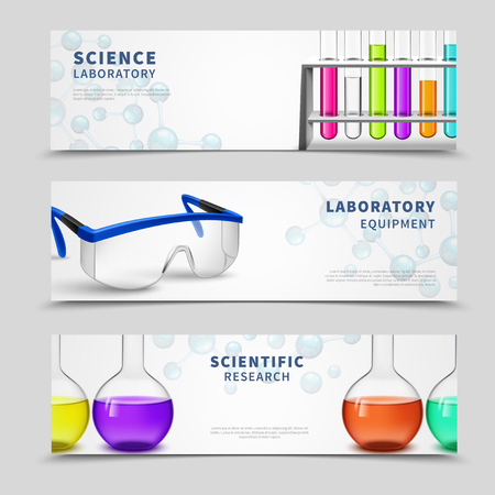 scientific research: Three compact horizontal banners set with lab equipment scientific research symbols bottles colorful tubes flat vector illustration Illustration