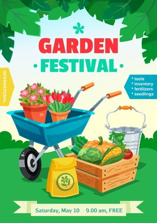 handcart: Garden festival colorful poster with rural landscape and advertising of tools inventory seedlings fertilizer  flat vector illustration