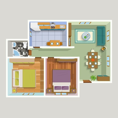 two on top: Top view apartment interior detailed plan with lounge kitchen bathroom two bedrooms furniture vector illustration Illustration