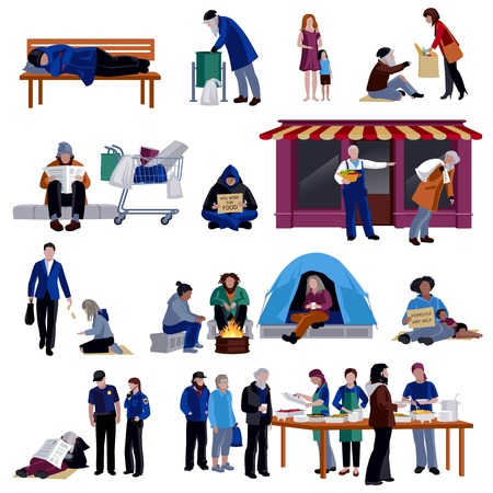 Homeless people isolated decorative icons set of tramp sleeping on bench hungry beggar sitting on on sidewalk refugees in camp flat  vector illustration
