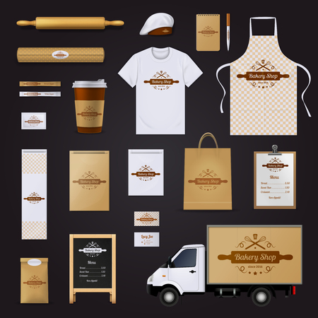 bakery price: Modern authentic bakery shop corporate identity menu and price list template design black background realistic vector illustration