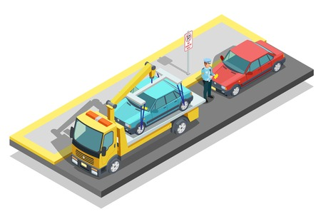 evacuate: Colored isometric parking composition tow truck working on the roadside and evacuate a parked car vector illustration