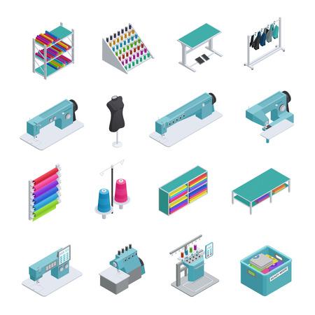 Gekleurde en geïsoleerde confectiefabriek isometrisch icon set machines naaimachines kledingstuk productie vectorillustratie