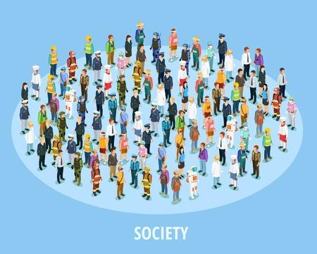 isometrica sfondo società professionale con persone di diverse professioni e posti di lavoro illustrazione vettoriale isolato