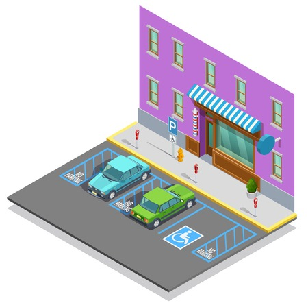 building lot: Parking zone isometric template with cars empty disabled lot near building vector illustration