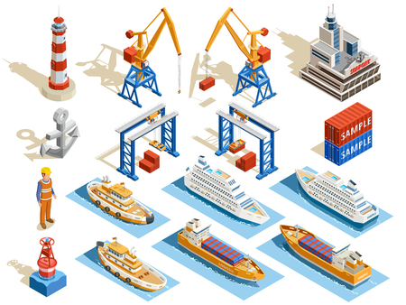 icons set: Seaport isometric set of industrial cruise ships marine tugs worker anchor cranes containers lighthouse isolated vector illustration