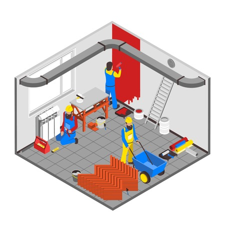 redecoration: Builder people isometric concept with interior redecoration symbols vector illustration Illustration