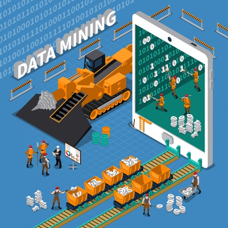 mining machinery: Data mining abstract isometric concept with tablet image and miner workers on blue background vector illustration