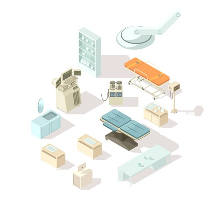 surgeon operating: Medical equipment for hospital isometric icons set of special furniture for operating room and  intensive care flat vector illustration Illustration