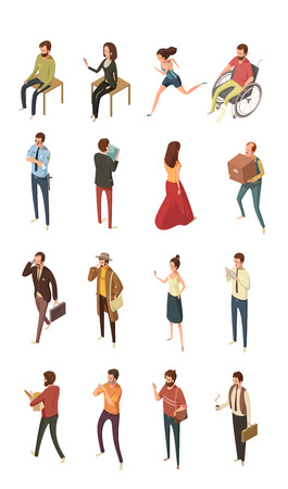 business woman tablet: People isometric icons set isolated vector illustration Illustration