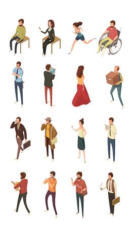 worl: People isometric icons set isolated vector illustration Illustration