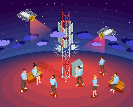 Public wireless technology isometric poster with satellite internet providers and smartphone users night sky background vector illustration