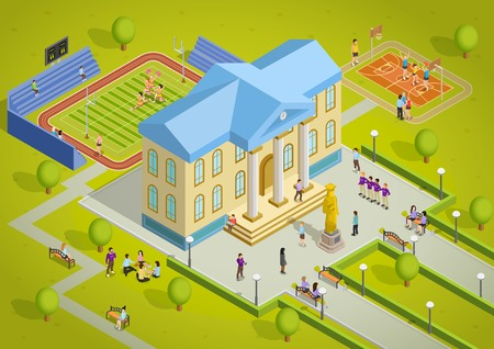 university campus: University campus building and sport complex facilities with students isometric view poster vector illustration