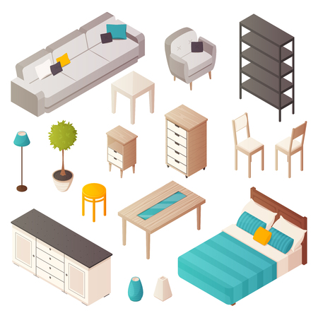 Isolated isometric home furniture icons set with interior design elements tables cabinet chairs plants and sofa vector illustration