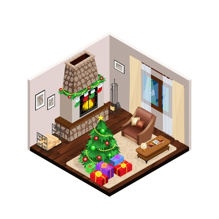 interior home: Lounge interior with christmas tree on light carpet and festive decorations on traditional fireplace isometric vector illustration Illustration