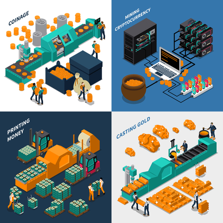 Industrial isometric concept with manufacturing of different types of money mechanical equipment and workers vector illustration Stock Vector - 69184232