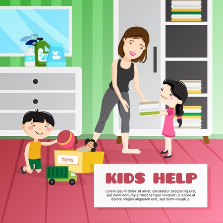 clean up: Smiling kids helping their mother cleaning room cartoon vector illustration