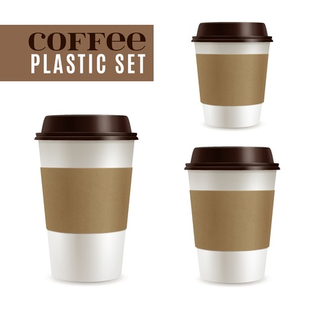 Fresh hot coffee covers realistic set isolated vector illustration Illustration