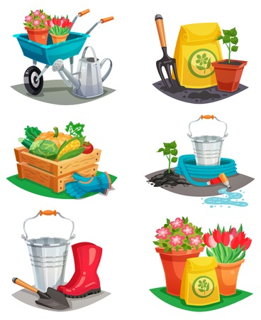 handcart: Set of isolated garden design compositions of colored decorative icons with handcart watering can rubber boots inventory for agriculture work flat vector illustration