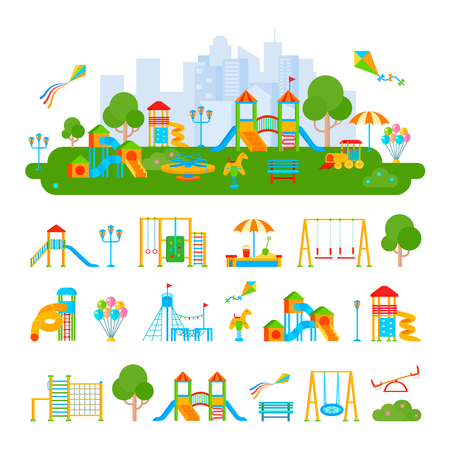 Composition of flat playground scenery and isolated elements plants ladders slippery dips seesaws on blank background vector illustration