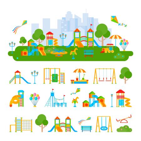 De samenstelling van vlak speelplaatslandschap en geïsoleerde elementen plant ladders glad onderdompelingen geschommel op lege vectorillustratie als achtergrond Stock Illustratie