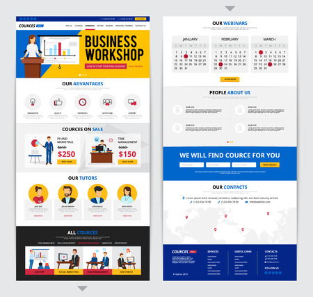 information  isolated: Two flat design web pages presenting detailed information about business traning courses isolated on grey background vector illustration