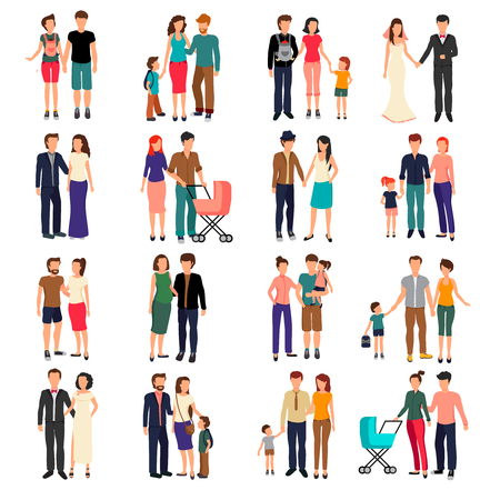 hetero: Heterosexual couples and families with children flat set isolated on white background vector illustration