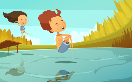 couple in summer: Summer cartoon vector illustration in flat style with couple of kids jumping into lake from small trampoline