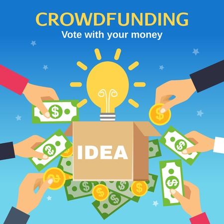 Crowdfunding poster with box for donations light bulb and people hands holding money flat vector illustration Illustration