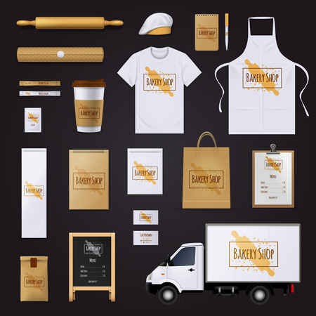 bakery price: Traditional bakery shop corporate identity template with pastry dough rolling pin design black background realistic vector illustration